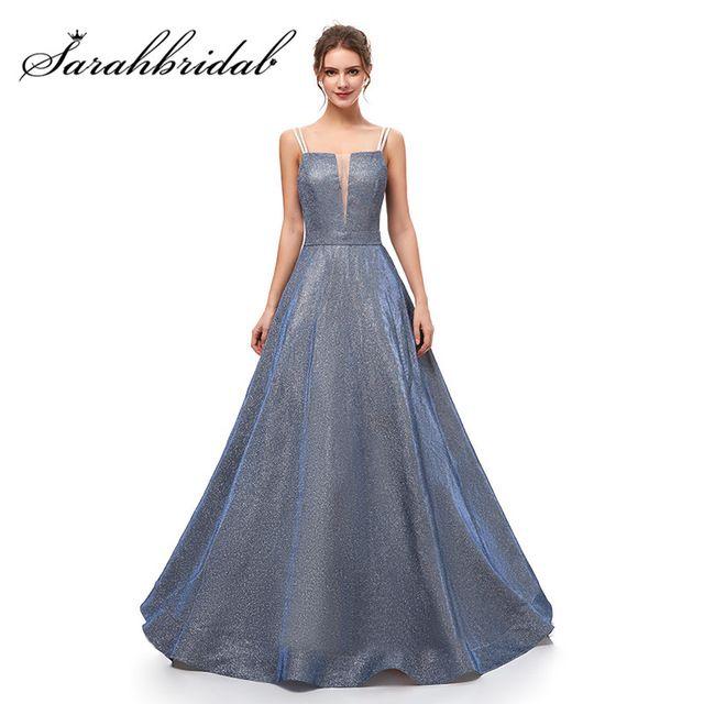Compre Vestidos De Noche Brillantes Para Jóvenes Vestidos Nuevos Vestidos De Baile Correa De Espagueti Sin Respaldo Escote En V Tela Especial Vestidos