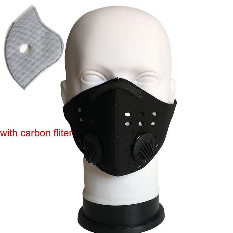 Велоспорт половина маска для лица PM2.5 угольный фильтр два клапана выдоха лыжная пылезащитная анти-загрязнение смог маска для лица Спорт крышка щит маски
