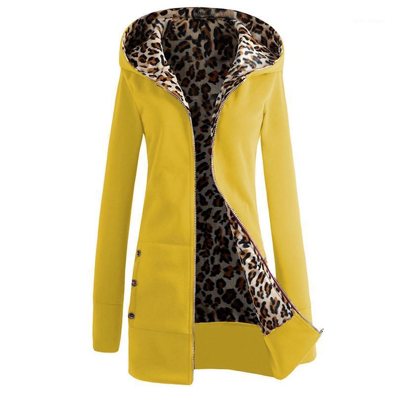 Plus Size Fest Farbe Lange Frauen mit Kapuze Jacken Thick Leopard-Druck-Damen-Mantel-Winter Outewear Female Apparel Warm