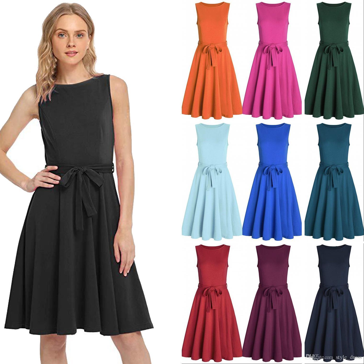 Vestido casual de fiesta o cuello redondo sin mangas con cuello en V una línea de streetwear vestido casual para mujer