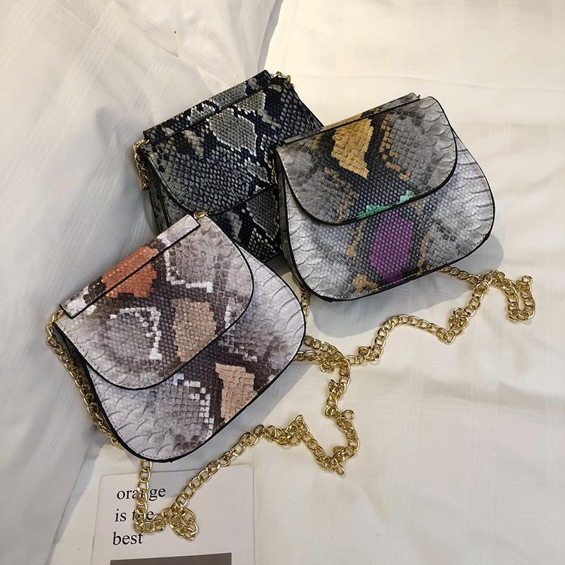 JIULIN 2019 yeni kertenkele tarzı kabuk tipi küçük kare torba zincir adı bagssingle omuz kadın çantası.
