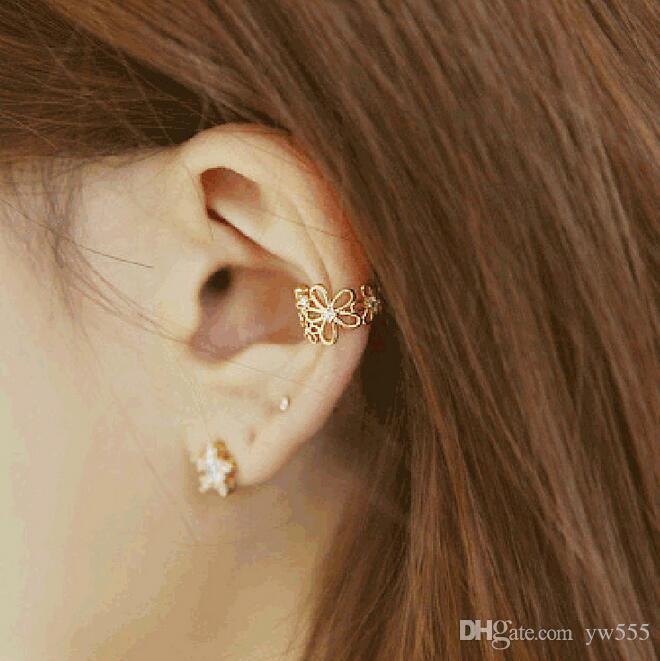 النسخة الكورية من المجوهرات الجديدة الأقراط سيدة زهرة الماس دون مثقوب كليب عظم الأذن مشبك الأذن هوك الأذن