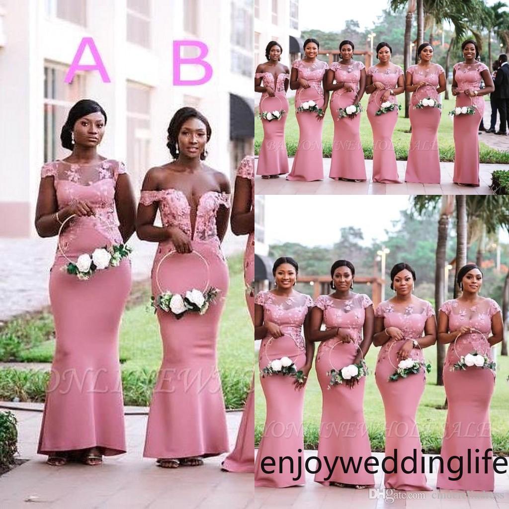 남아프리카 나이지리아 여자 핑크 인어 신부 들러리 드레스 2020 플러스 사이즈 깎아 지른 넥타이 목 Appliques 층 길이의 하녀 BM0614