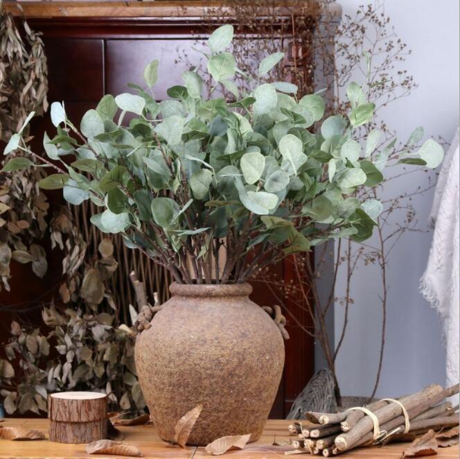 Feuilles d'eucalyptus artificiel de style européen simulation fleur or feuille d'argent décoration de mariage pour la décoration de la maison de l'hôtel