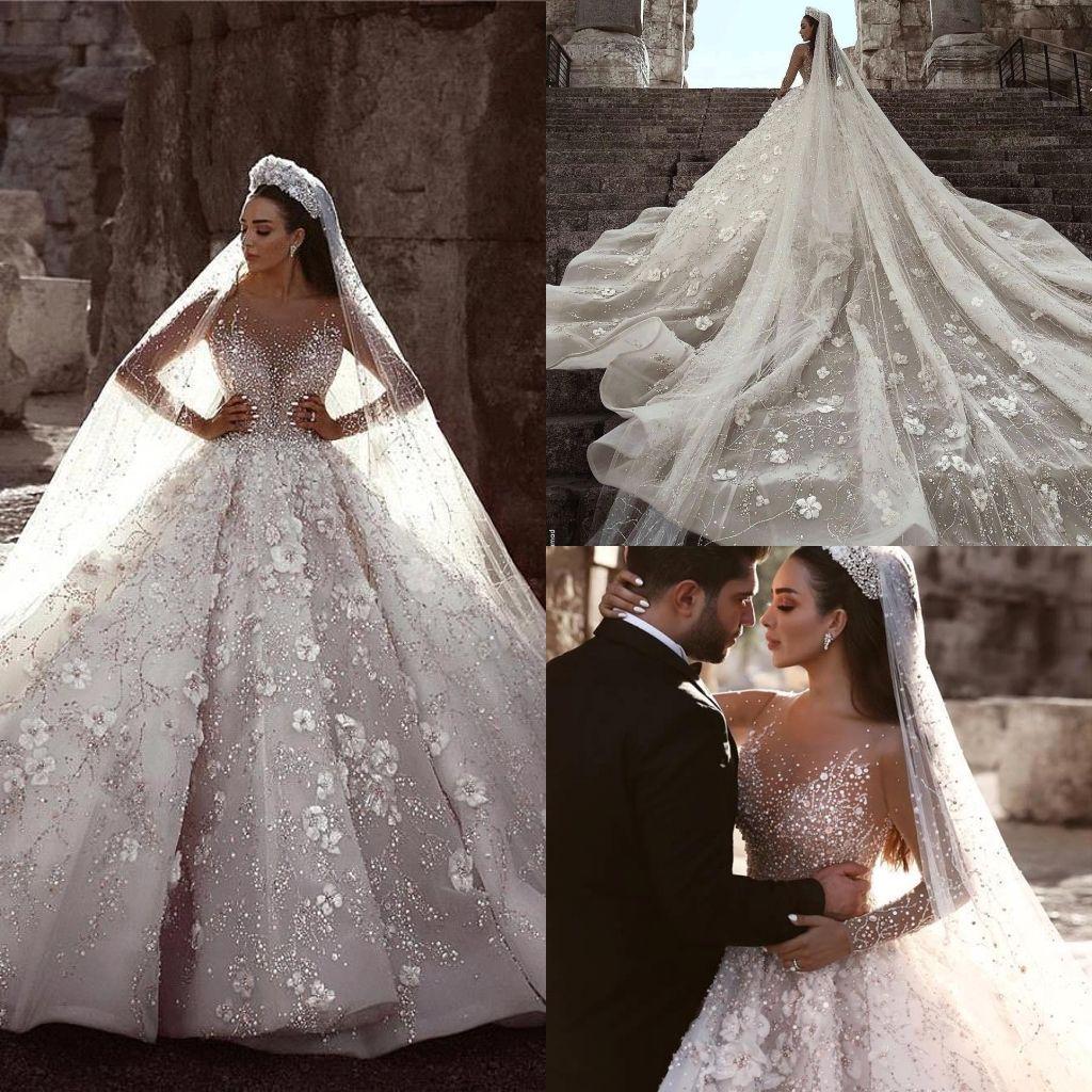2019 Glamorous Luxury Dubai Arabic New Lace Ball Gowns Wedding Dresses Long Sleeves 3D Flowers Beading Wedding Dress Bridal Gowns BC0151