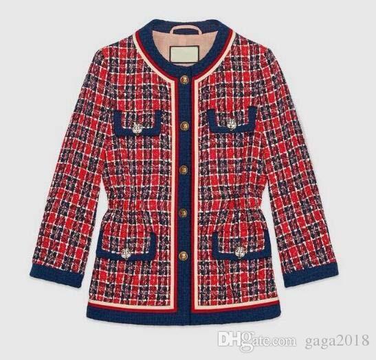 새로운 최고급 여성들이 만든 최고 품질의 체크 재킷 패치 스트라이프 긴 소매 트렌치 코트 재킷 아웃웨어 가을 트위드 재킷 스위트 코트