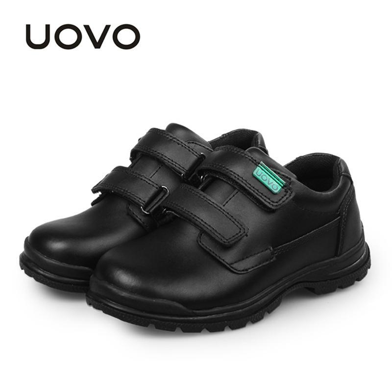 UOVO Детская Обувь 2019 Весной И Осенью Черная Обувь из Натуральной Кожи Школьники Дети Повседневная Для Мальчиков # 30-37
