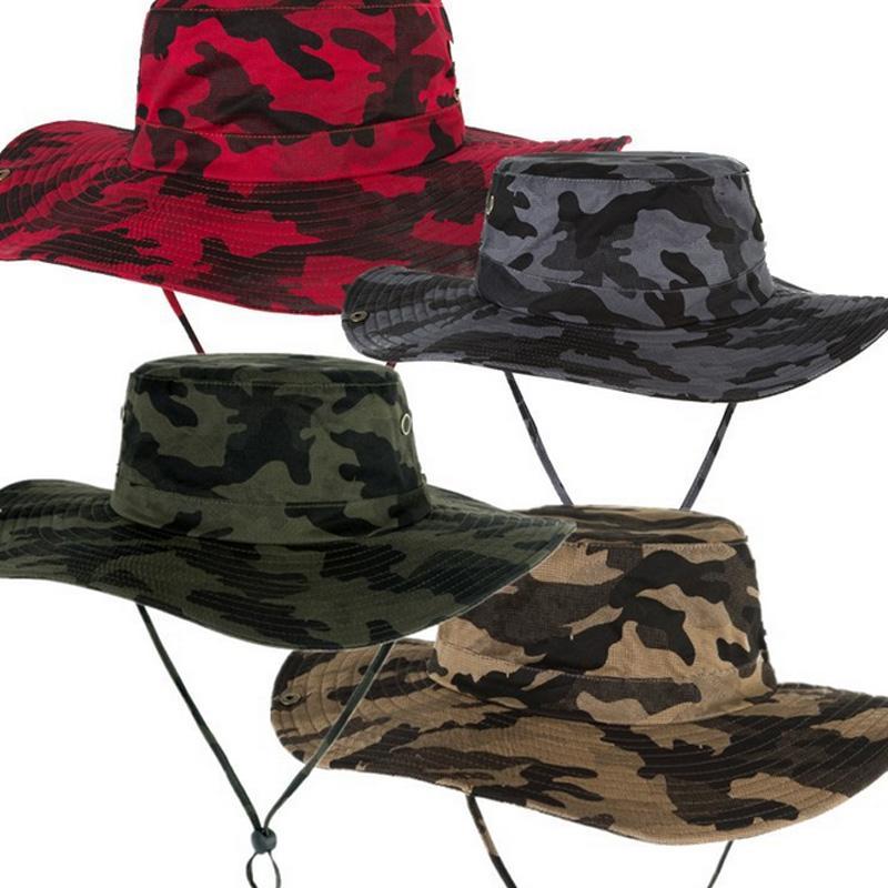 Fashion Men Women Camouflage Bucket Hats Cowboy Hat Casual Travel Outdoor Fishing Hiking Snapback Flat Cap Chapeu Feminino