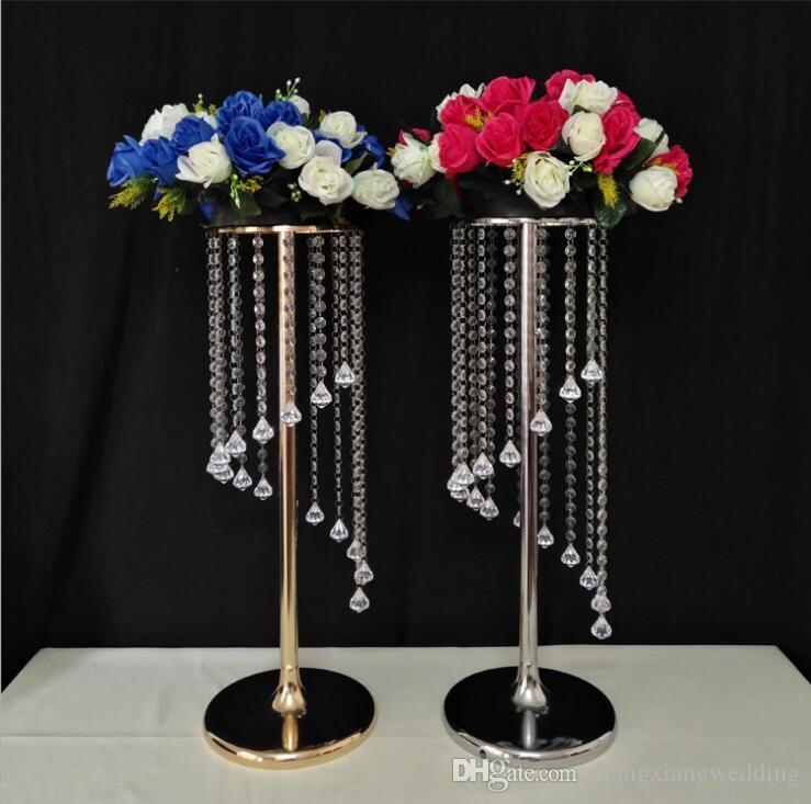 Espiral Guía de cristal Rueda de la fortuna Camino principal de la boda T Escenario Flores Tenedores Decoraciones de la boda para la venta al por mayor directo de fábrica al por mayor