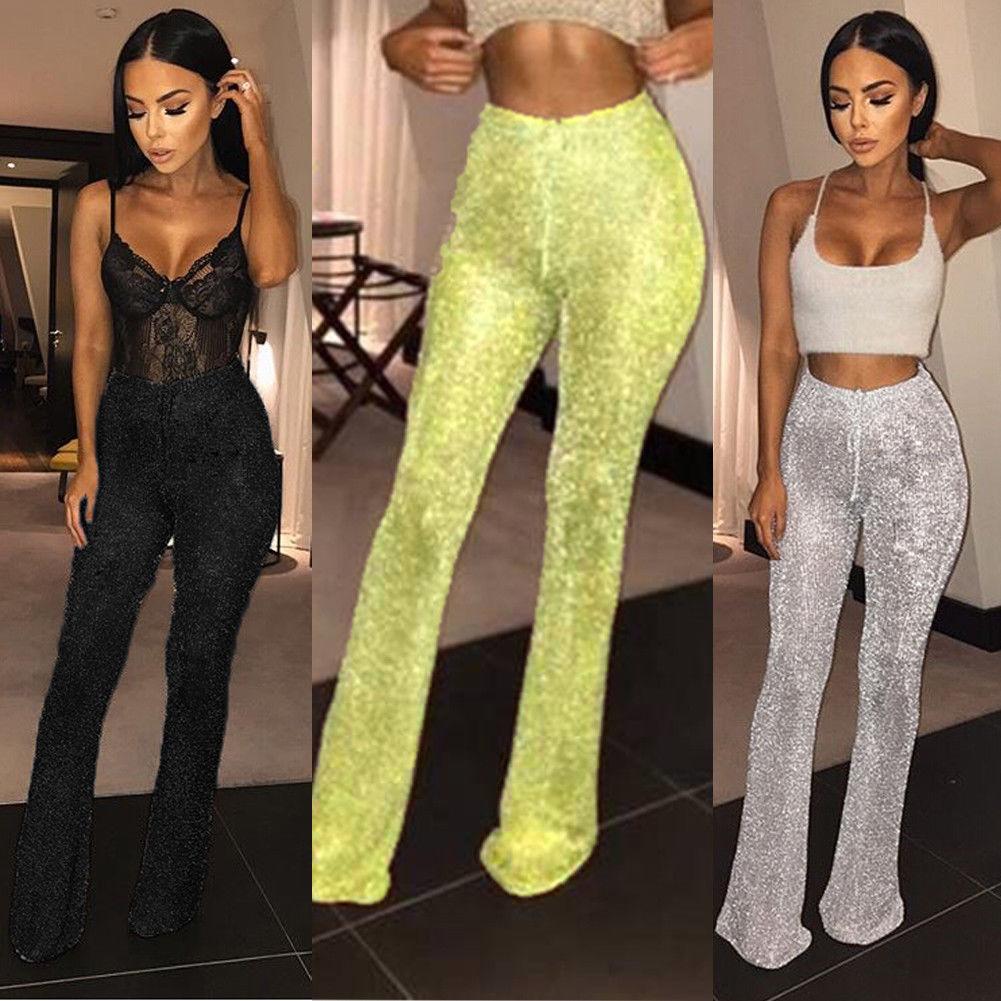 Fashion-Bell Bottom Pailletten lange Hose Sparkly Glitter Pailletten Hosen hoch taillierte sexy Clubwear Hose mit weitem Bein für Frauen C19041701