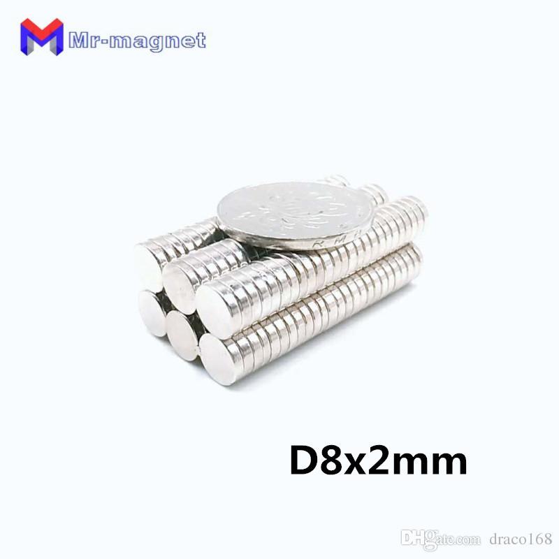 2019 imanes Hot Sale Ndfeb Refrigerator Magnet 100 Pcs 8x2 mm N50 Supper Strong Neodymium Magnets Rare Earth Round Grade Craft Fridge New