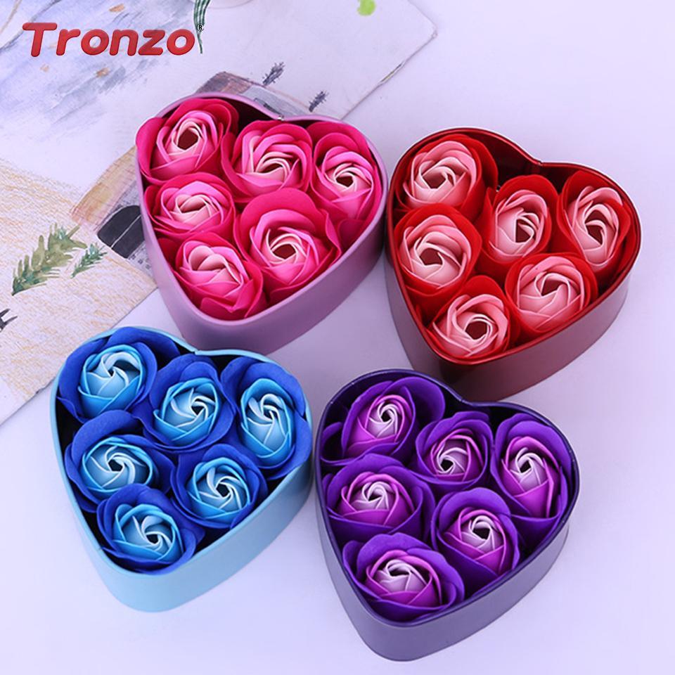 Flower Soap Rose 6Pcs Com Heart Shaped Box Presente da flor do sabão de casamento dos Namorados criativo Dia das Mães Dia presente Dropshipping