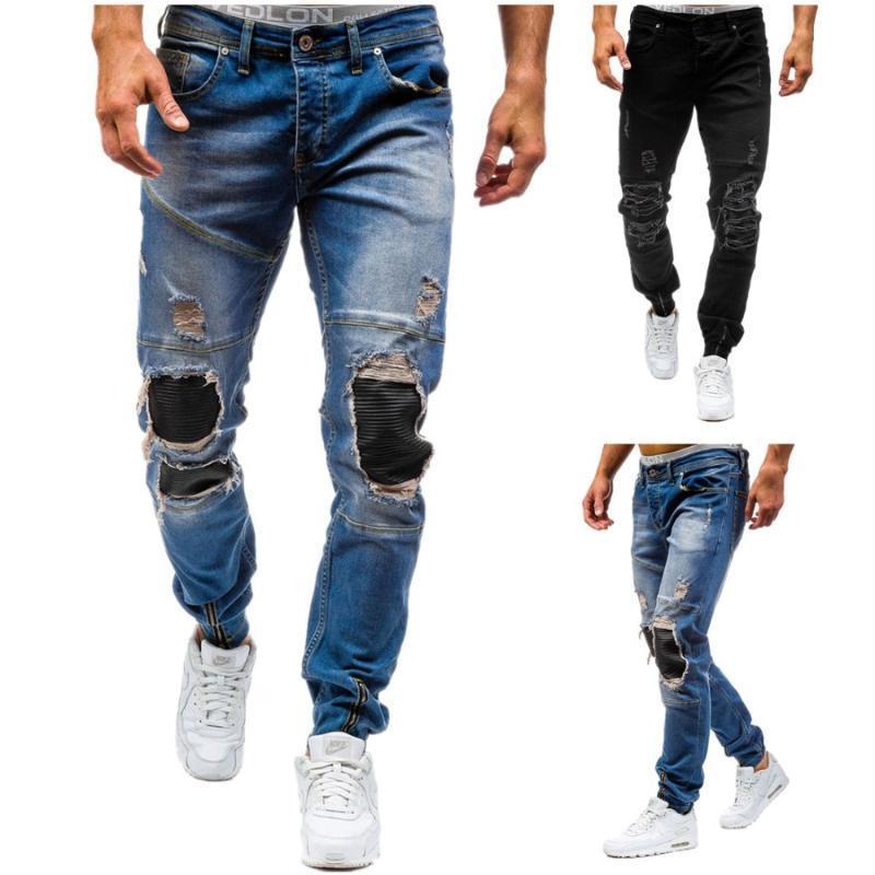 2020 Yeni Marka Tasarımcı Dar Kesim Yırtık kot Erkekler Hi-Sokak Erkek Sıkıntılı Denim Koşucular Diz Delikler Jeans Tahrip Yıkanmış