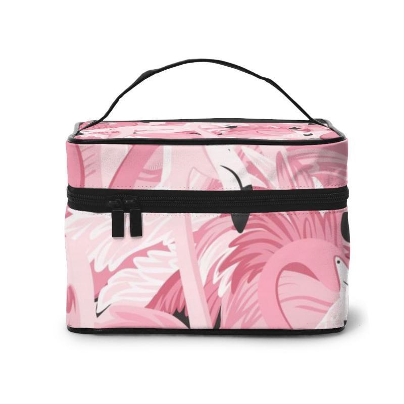 2020 Kadınlar Makyaj Çantası Kozmetik Çanta Pembe Flamingolar Desen Bayanlar Güzellik Case Kozmetik Organizatör Tuvalet Çanta