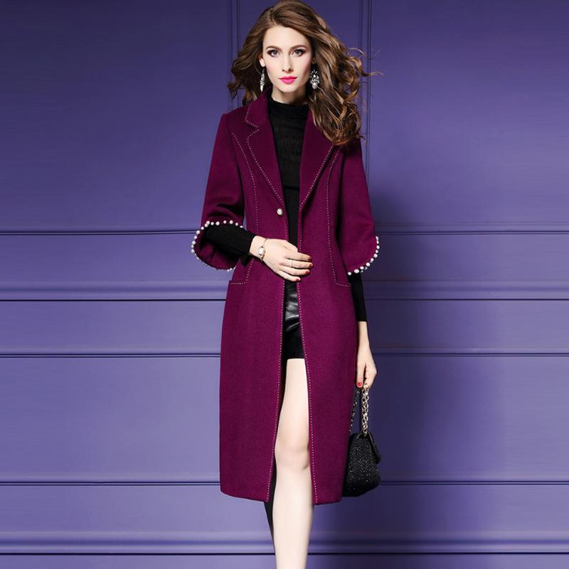 Ofis Lady Uzun Kış Moda Yün Palto Tek Düğme Yün Karışımı Ceket ve Ceket Flare Kol Katı Coat Femenino