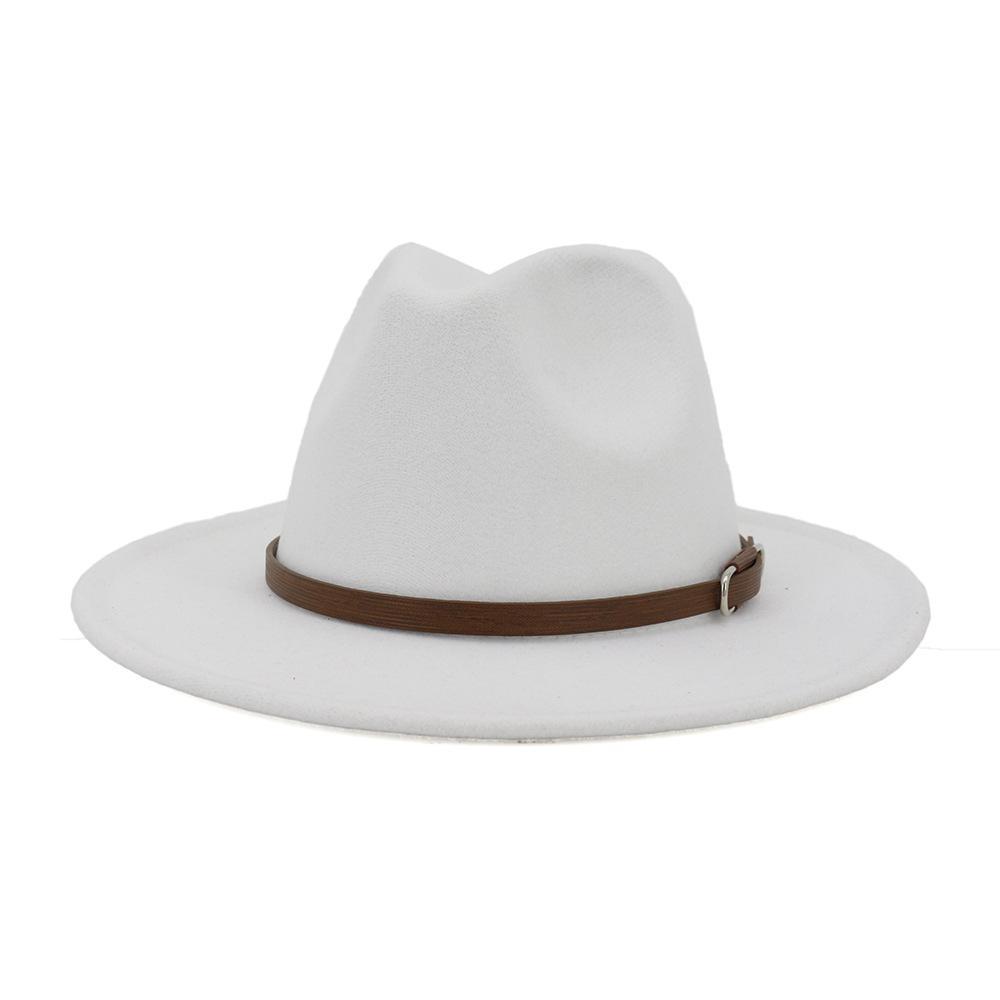 الصوف الأوروبي الولايات المتحدة النساء الرجال الاصطناعي فيلت فيدورا قبعات مع القهوة حزام جلد على نطاق واسع بريم بنما جاز كاب أبيض أسود كبير الحجم