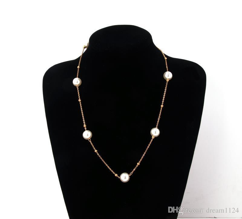 Fashion Simple Charm Pearl Beads Necklace Gold Silver Plated Long Chain Necklace Earring Jewelry Set For Women Wedding Party Jewelry Gift