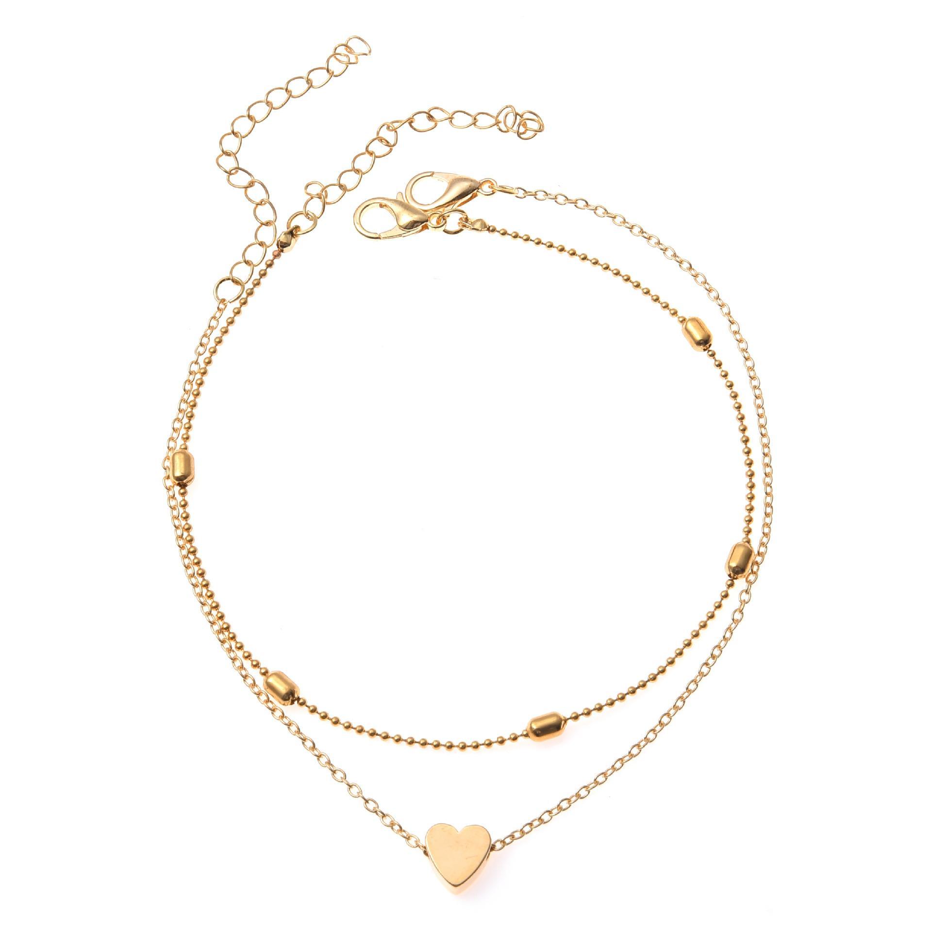 سلاسل S1418 موضة ساخنة مجوهرات طبقة مزدوجة القلب خلخال سلسلة الخرز سبائك سوار الكاحل شاطئ الخلخال القدم