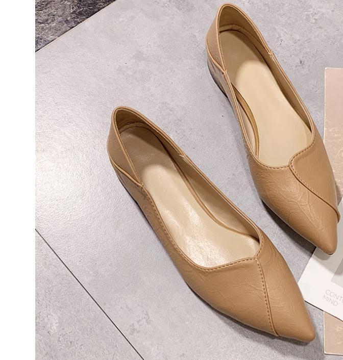 2020 весной и осенью с обувью Нового стиля моды Среднего каблуком Грубых пятками заостренного конца женщинами в @ MQWBH729