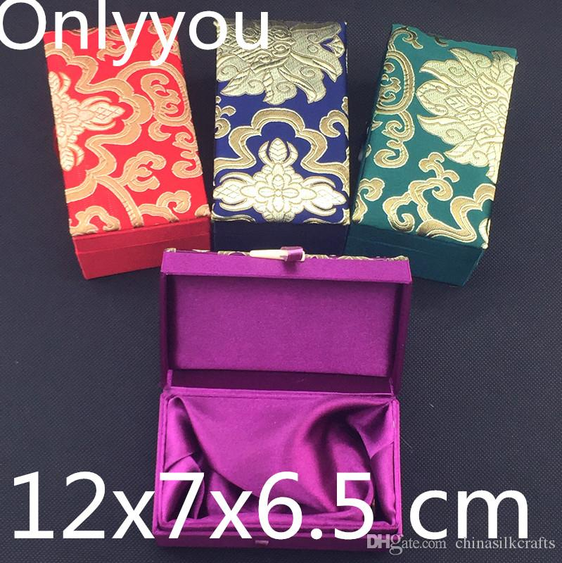 Luxury Rectangle Silk Brocade Gift Box Birthday Wedding Packaging Chinese Jewelry Box Craft Storage Boxes 12x7x6.5 cm 4pcs/lot