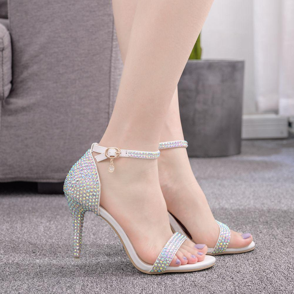 New summer bridal wedding dress shoes 9.5cm stiletto heel luxury rhinestone ankle strap bridesmaid banquet sandals size 35-42