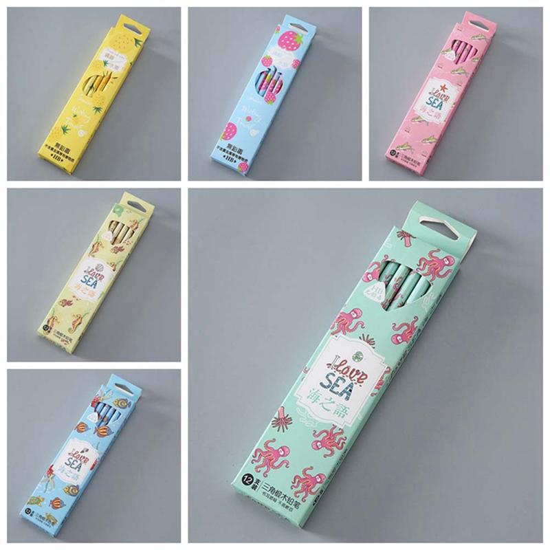 NEW 12 Pcs / Set bonito do arco-íris Bom Escrita plástico Lápis automático Pen Com Eraser Para Kid Escola Material de Escritório