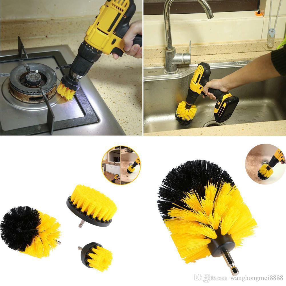 Nuevo 1 \ 3PCS Limpieza de taladro eléctrico Cepillo de nylon Cepillo de cerdas Cepillo rotativo Scrubber Set Cepillos de limpieza del hogar Herramientas