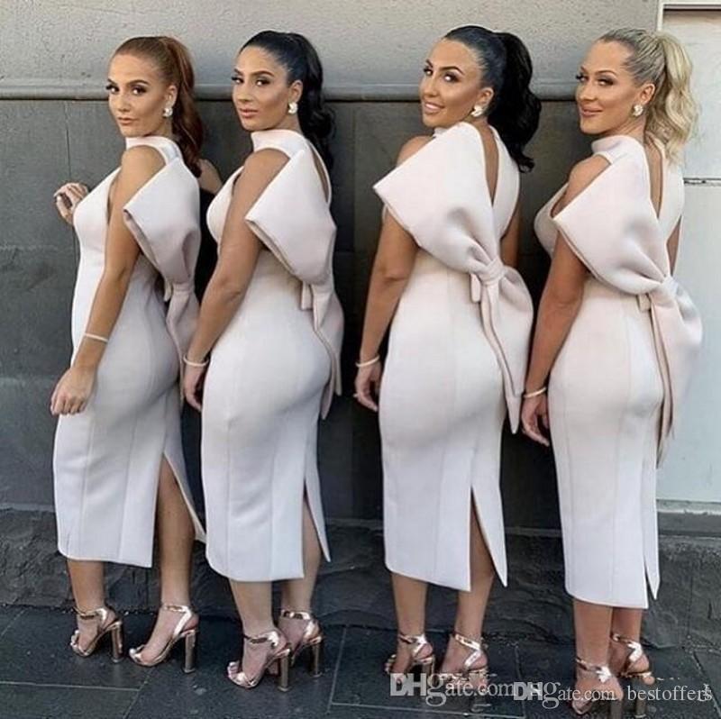 Büyük yay 2020 Çay Boyu Afrika Nijeryalı yular Saten Gelinlik Modelleri sırtı açık Onur Elbiseler ucuza Of Wedding Guest Maid bölmek