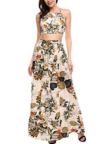 Zeagoo Kadın Çiçek Baskı İki Adet Mahsul En Uzun Maksi Elbise