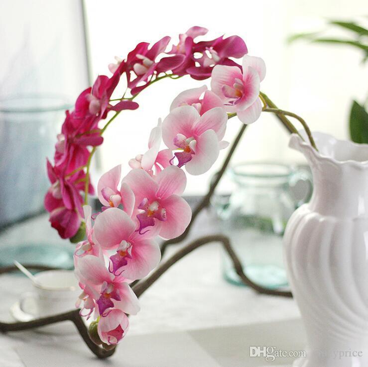 살아있는 인공 나비 난초 꽃 실크 접 DIY 웨딩 거실 미술 장식 가짜 꽃 무료 배송 LXL449-A