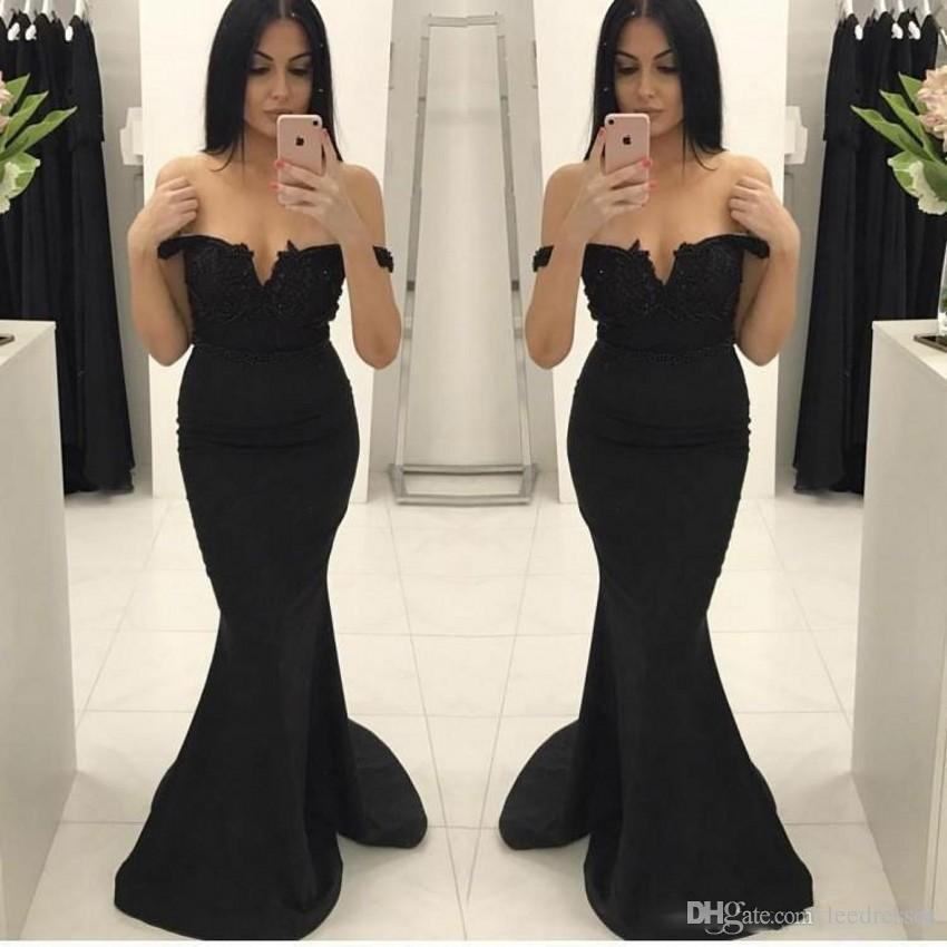 Compre Vestidos De Fiesta Negros Elegantes Elegantes Hermosos Vestidos De Noche Sin Tirantes Del Tren De Barrido De Sirena Vestidos De Fiesta Formales