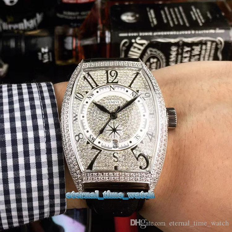 Высокое качество 8880 CC AT Дата Даймонд циферблатом Япония Miyota автоматические механические мужские часы Алмазный серебристый корпус черный кожаный ремешок Спортивные часы