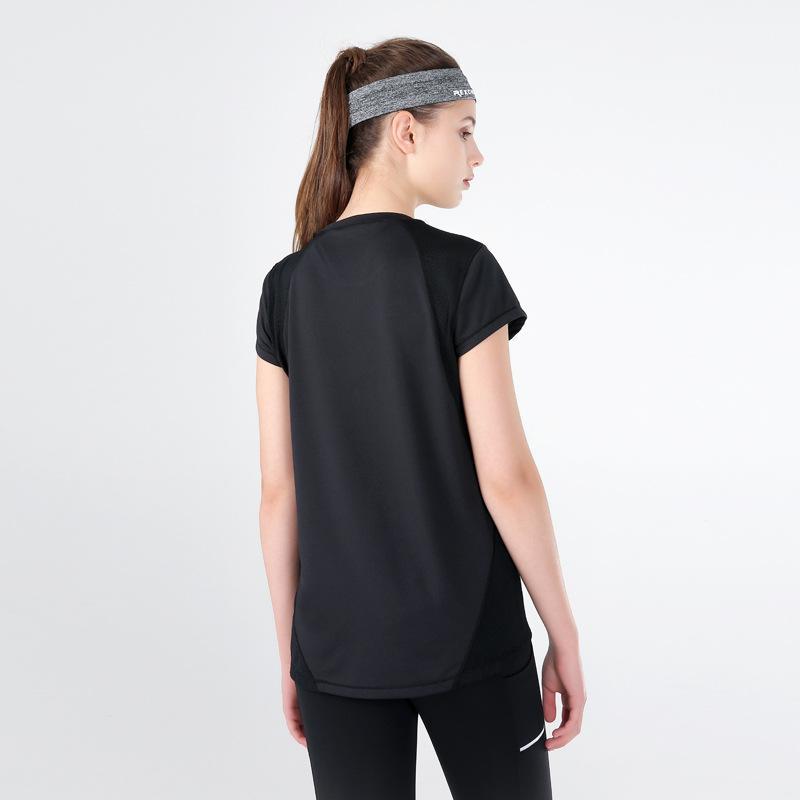Lu-3 Bahar ve Yaz Yeni Mesh Dikiş Bayan Spor Short Sleeve Hızlı Kurutma Stretch Spor Yoga Short Sleeve tişört