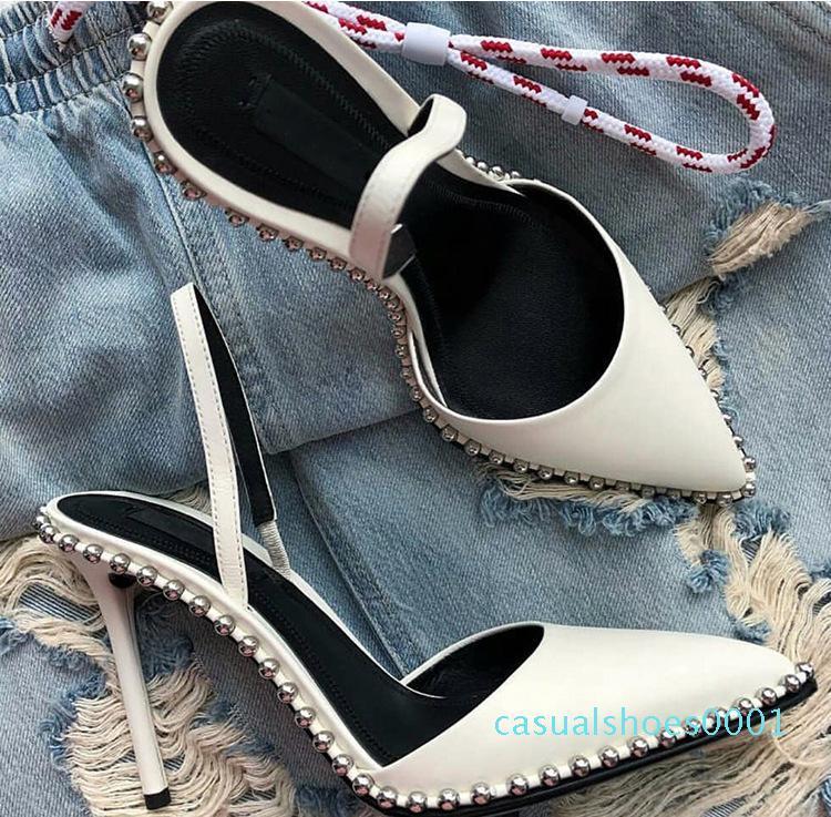 scarpe americane progettista di marca sexy rivetto delle donne, con bordo sandali a punta, tacchi sottili cavi per i pattini delle donne AC01
