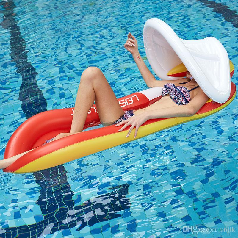Faltbare Außen Wasser Hängematte PVC Aufblasbarer Lounge Chair Schwimmdock Schlafenbett-Pool Wasser Hängematte mit Sonnenschutz