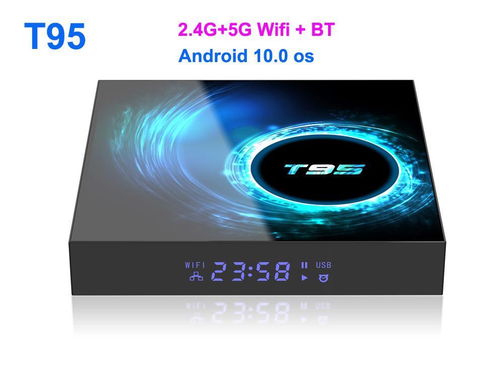 T95 Smart tv Box Android 10 6k 4g 32gb 64gb 2.4g & 5g Wifi Bluetooth 5.0 Quad core set-top box media Player