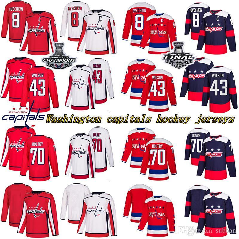 Stanley Copa dos Campeões Washington Capitals 8 Alex Ovechkin 77 TJ Oshie 70 Braden Holtby camisola do hóquei 43Tom Wilson 92 EVGENY KUZNETSO