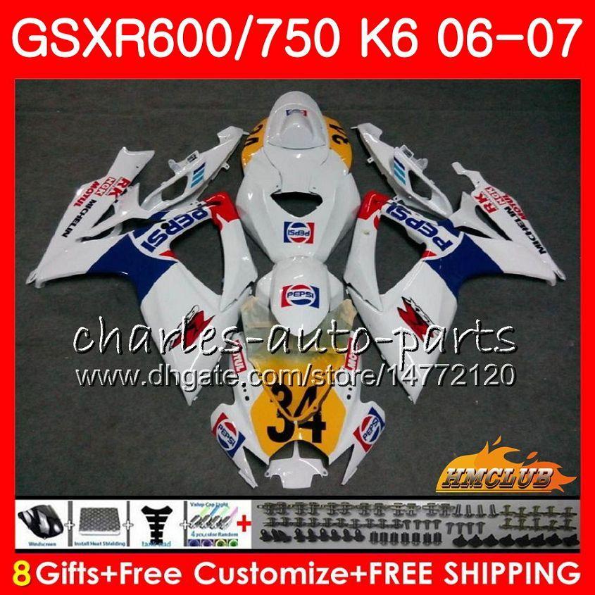 Corps de Suzuki GSX R600 GSX-R750 GSXR-600 GSXR600 06-07 8HC.75 GSX R750 GSXR 600 750 06 07 K6 Top Blanc Stock GSXR750 2006 Kit de carénage 2007