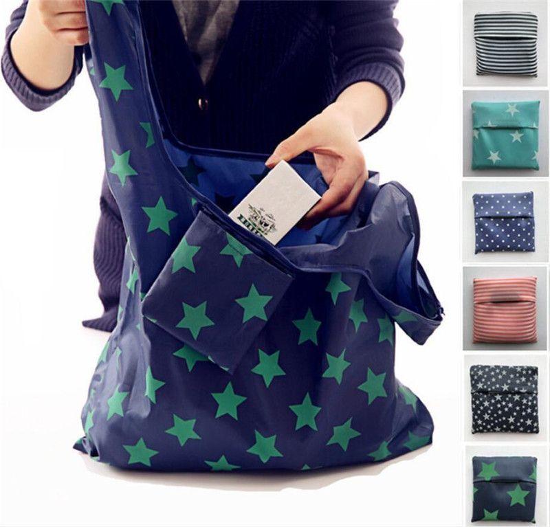 6styles Складная многоразовые сумки Eco хранения Бакалея сумки звезда полоса Dot печататься покупки Tote Сумочка 53 * 35см K394
