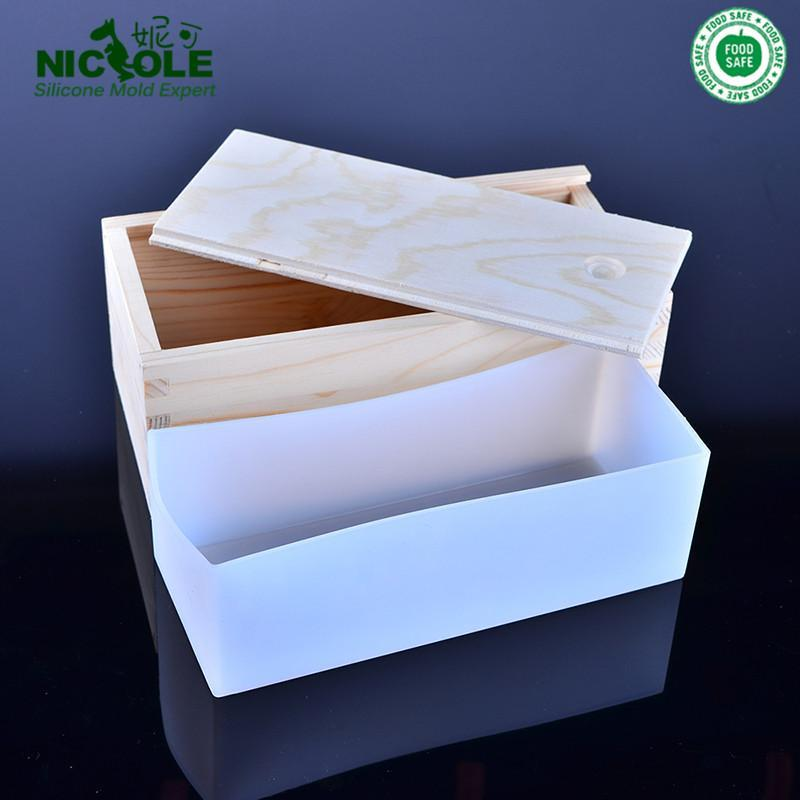 Nicole Flower Design Silicone Loaf Soap Bar Molds Swirl Soap Mould With Wood Box