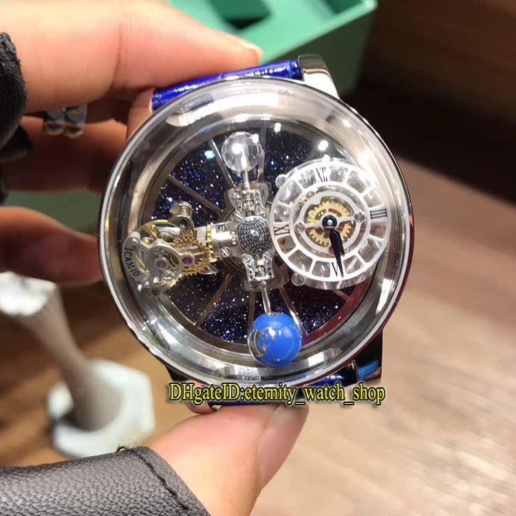 Статическая версия EPIC X CHRONO CR7 астрономический Tourbillon Skeleton авантюрин Dial Швейцарский кварцевый Мужские часы серебристый корпус Синий ремешок Часы