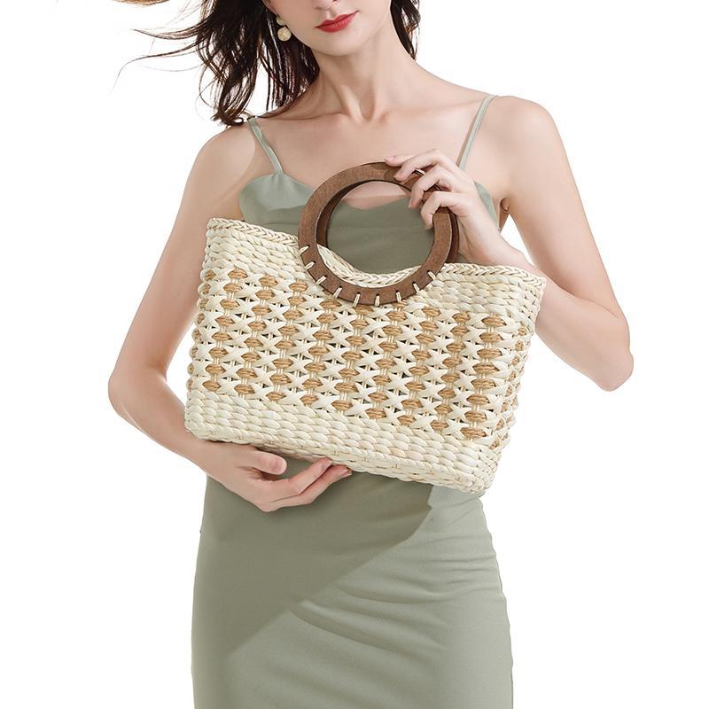 Retro Strohsack Mai Haut handgewebte Strandtasche Mori Reihe große Kapazität Urlaub am Meer