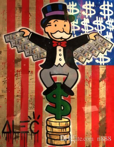 Alec Monopoly Graffiti Art Home Decor American Flag Handpainted &HD Print Oil Painting On Canvas Wall Art Canvas Pictures 191023