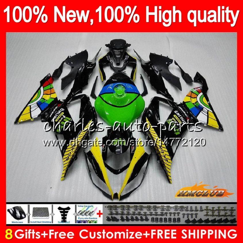 OEM cuerpo para Kawasaki ZX verde amarillo 636 600CC 6R ZX6R ZX600 33HC.115 ZX636 ZX636 ZX6R 09 10 11 12 ZX 6R 2009 2010 2011 2012 carenado kit