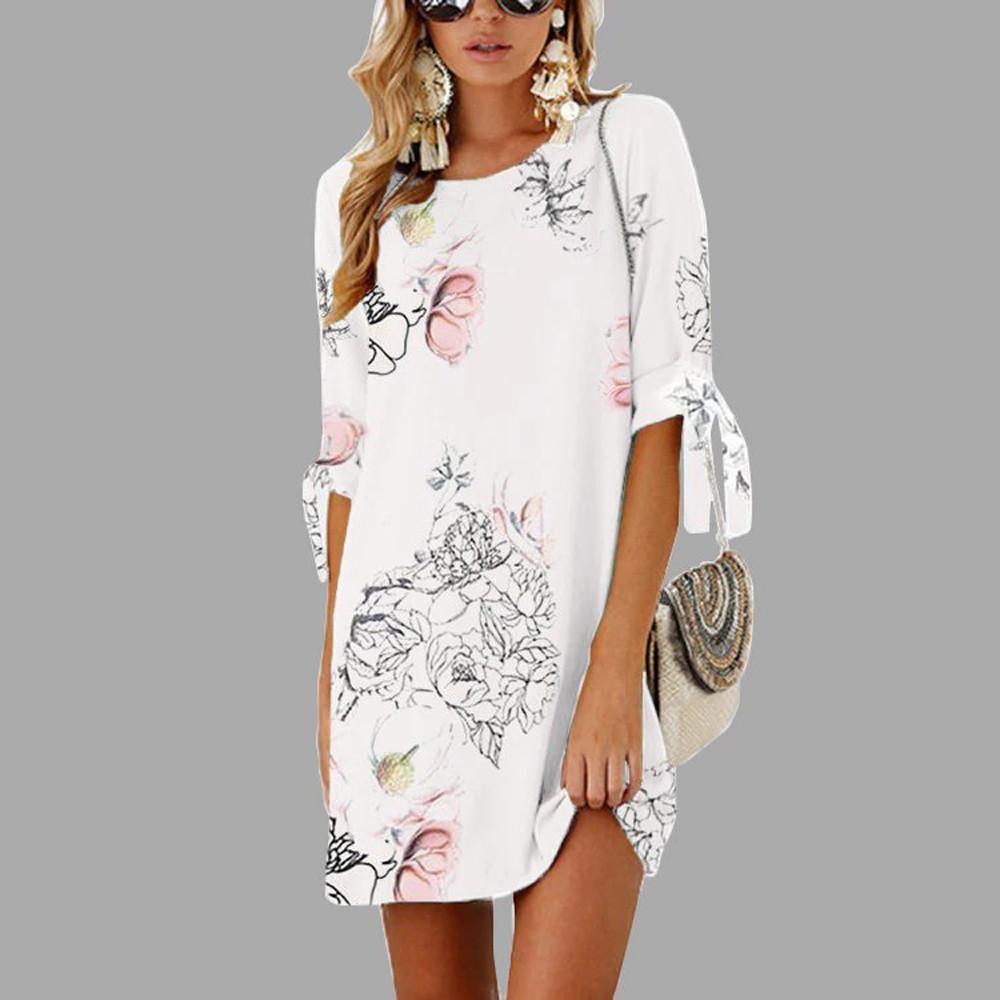 Лето Foral печати платья для женщин платья Boho шифон пляж платья Туника Сарафаны вскользь Сыпучей Мини платья партии Vestidos MX200518