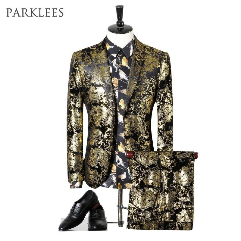 Paisley Wedding Suits Men Brand Design Black Gold Floral Tuxedo Men Slim Fit Mens Dress Suits Stage Costumes Jacket/pants Men Xl T2190615