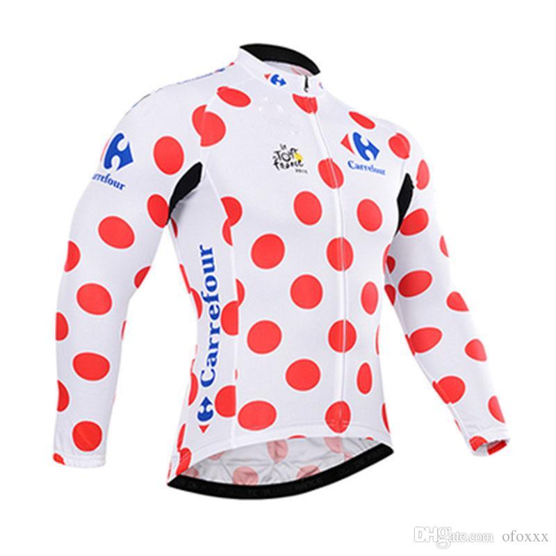 투어 드 프랑스 팀 자전거 긴 소매 저지 통기성 빠른 건조 야외 스포츠 탑 자전거 옷 여름 남성 Y53021