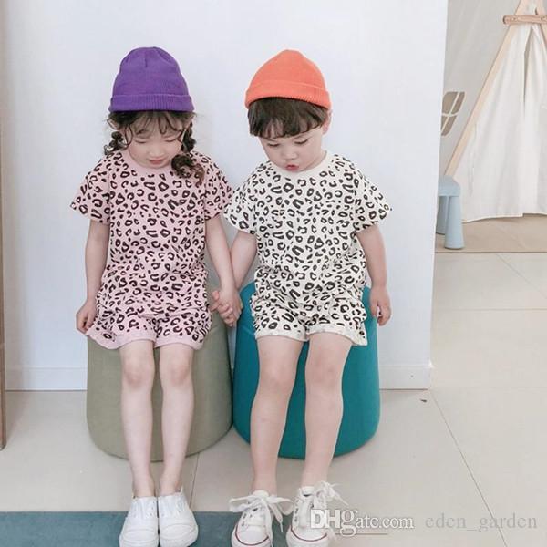 Crianças roupas de grife Meninos Leopard Tops Shorts 2pcs Conjuntos de manga curta Meninas Treino causais Crianças Conjuntos Boutique Kid Roupa YW3800-L