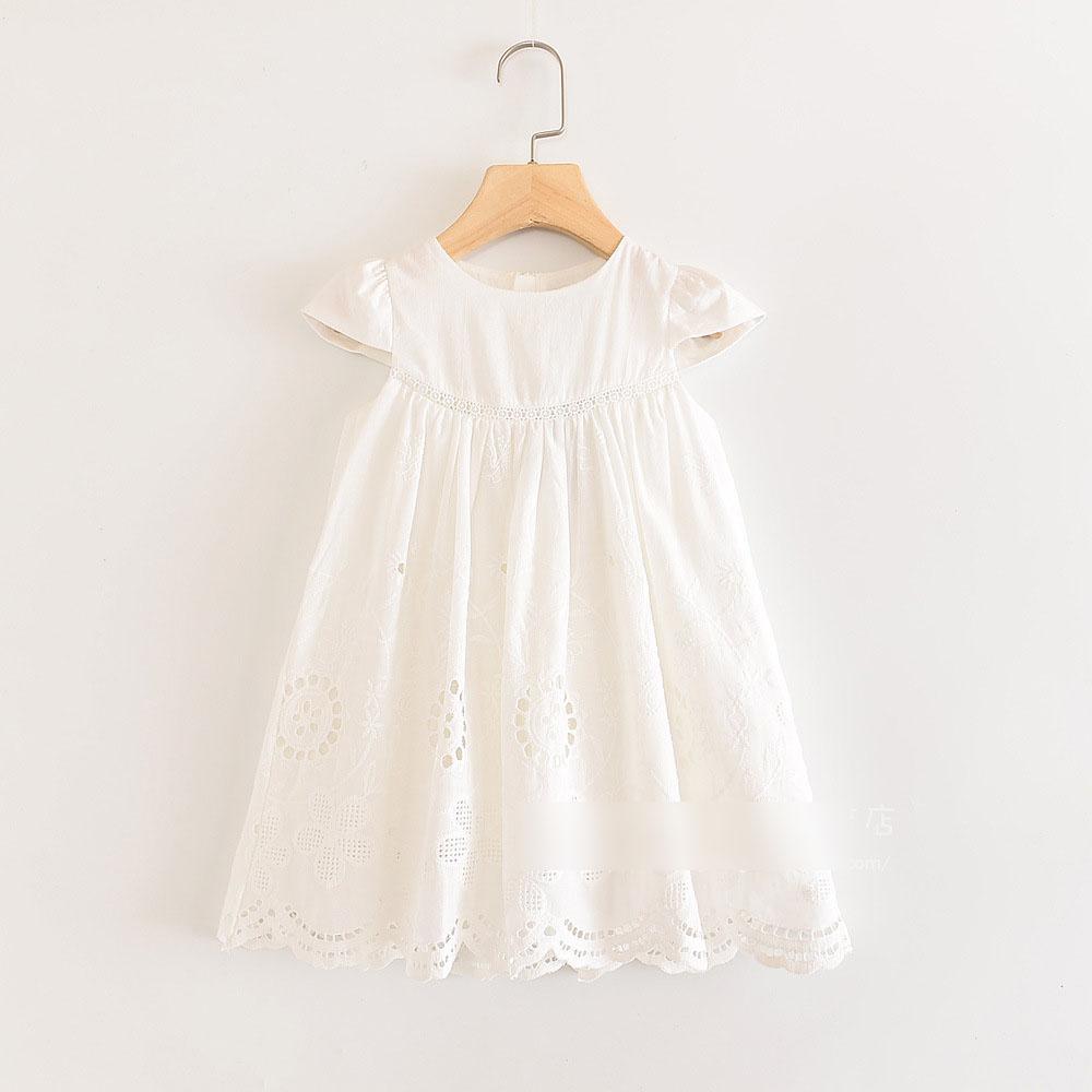 Großhandel Sommermädchenkleid Kinder Hohlen Bestickten Kleid Kinder  Schnüren Sich Hülsenprinzessinkleid 20 Neue Kinder Kleidung J20 Falbala