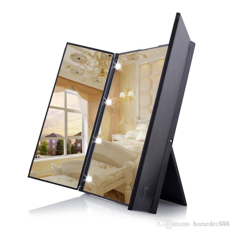 الصمام المكياج مرآة سفر قابلة للطي المحمولة يشكلون مرآة 8 أضواء LED المضاء النساء سطح المكتب ماكياج التجميل ثلاثة جوانب مرآة DH0731